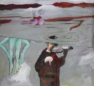 Clown unter Wasser, 1985, oil and enamel on canvas, 130 x 140 cm