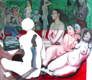 Turkish Bath meets Kurfürstenstrasse, 2010, oil on canvas, 135x160cm