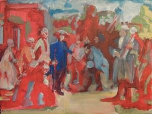 Friedrich auf Reisen nach Menzel, 2012, acrylics on canvas, 30x40cm