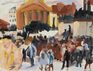 Aufbahrung der Märzgefallenen nach Menzel, 2012, acrylics on canvas, 80x90cm
