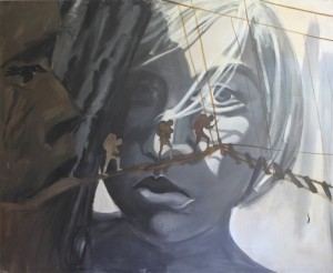Film girl, 1985, acrylics and oil on canvas,160x190cm