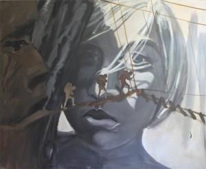 Film girl, 1985, acrylics and oil on canvas,160x190cm